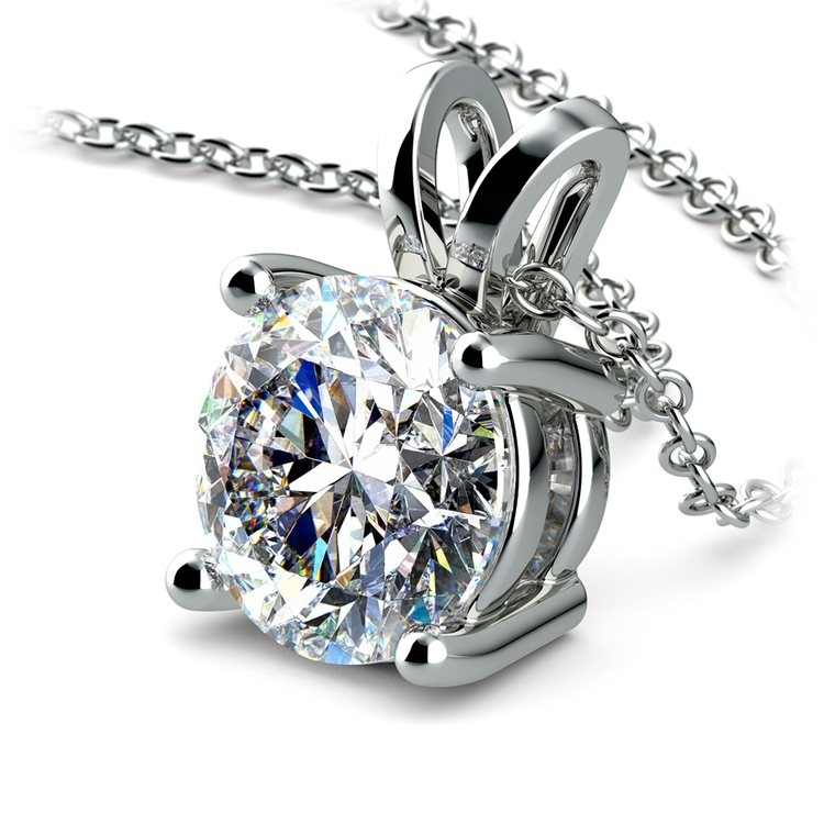 Round Diamond Solitaire Pendant in White Gold (3 ctw) | 03