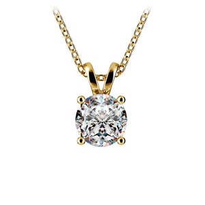 Round Diamond Solitaire Pendant in Yellow Gold (1 ctw)