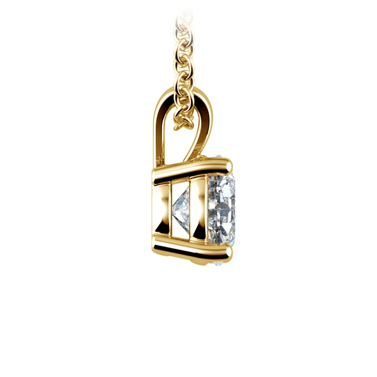 Round Diamond Solitaire Pendant in Yellow Gold (1 ctw) | 02