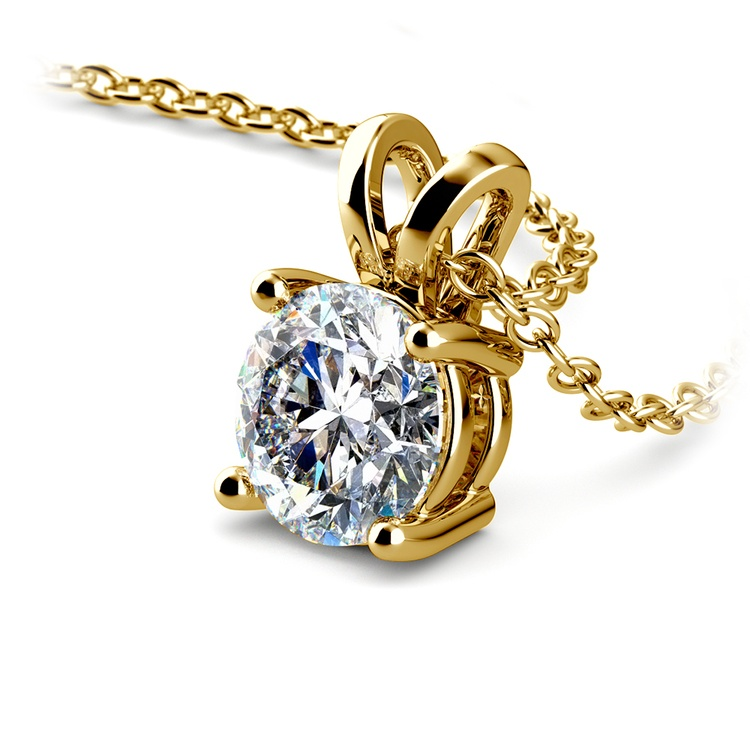 Round Diamond Solitaire Pendant in Yellow Gold (1 ctw) | 03