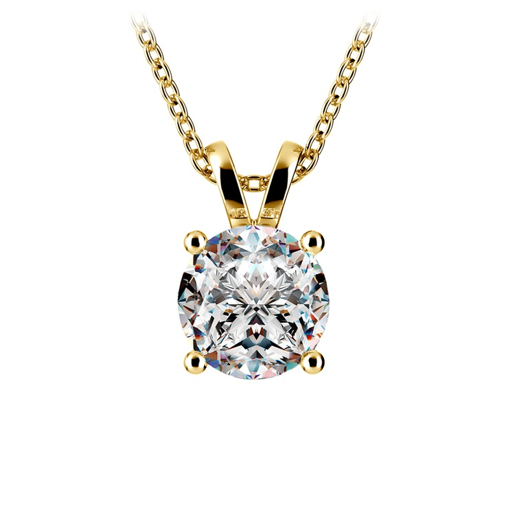 Round Diamond Solitaire Pendant in Yellow Gold (2 ctw) | 01