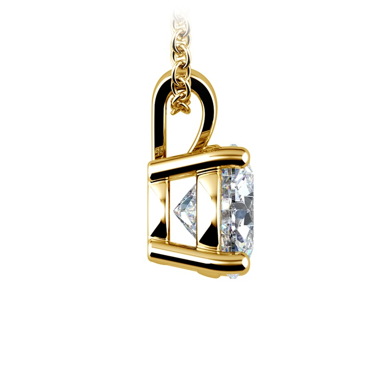 Round Diamond Solitaire Pendant in Yellow Gold (2 ctw) | 02