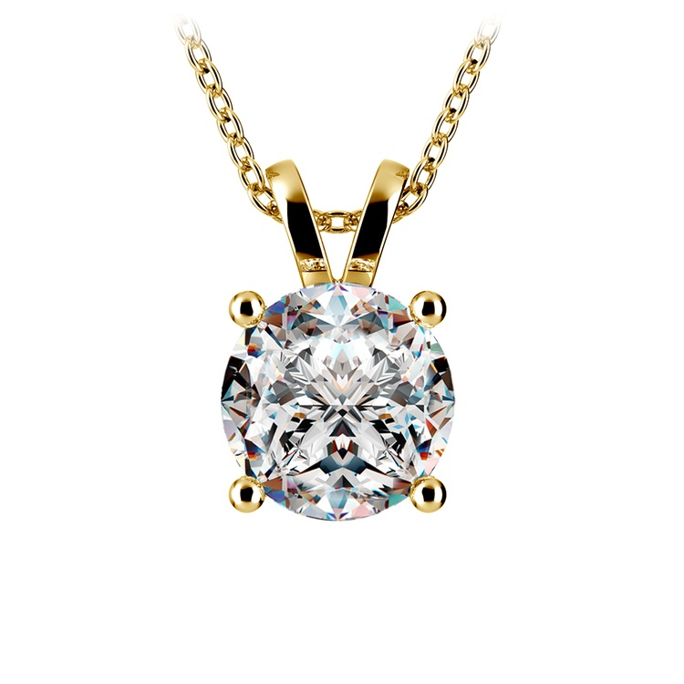 Round Diamond Solitaire Pendant in Yellow Gold (3 ctw) | 01