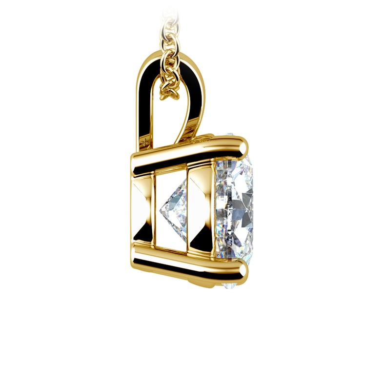 Round Diamond Solitaire Pendant in Yellow Gold (3 ctw) | 02