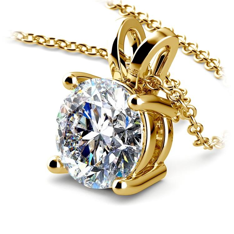 Round Diamond Solitaire Pendant in Yellow Gold (3 ctw)   03