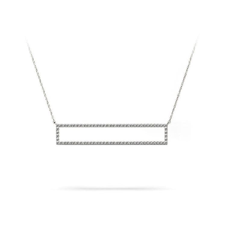 Diamond Bar Necklace in White Gold (3/8 ctw) | 01