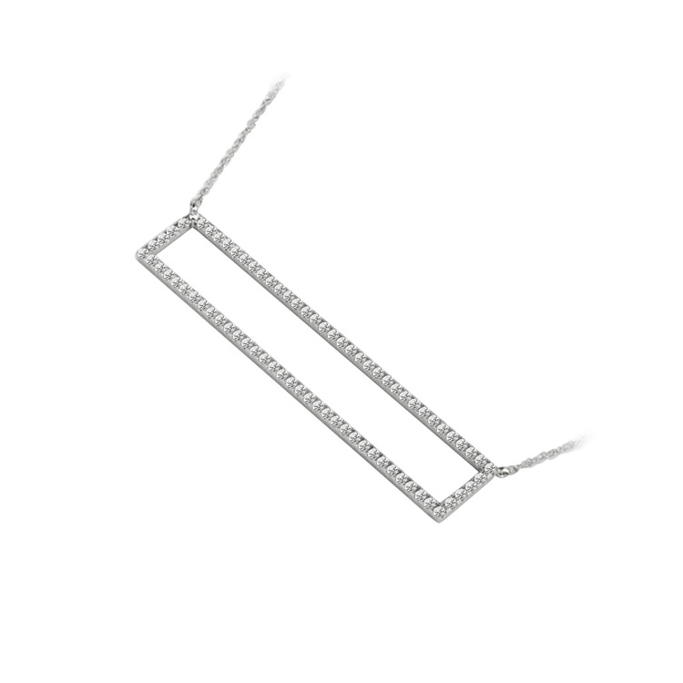 Diamond Bar Necklace in White Gold (3/8 ctw) | 02