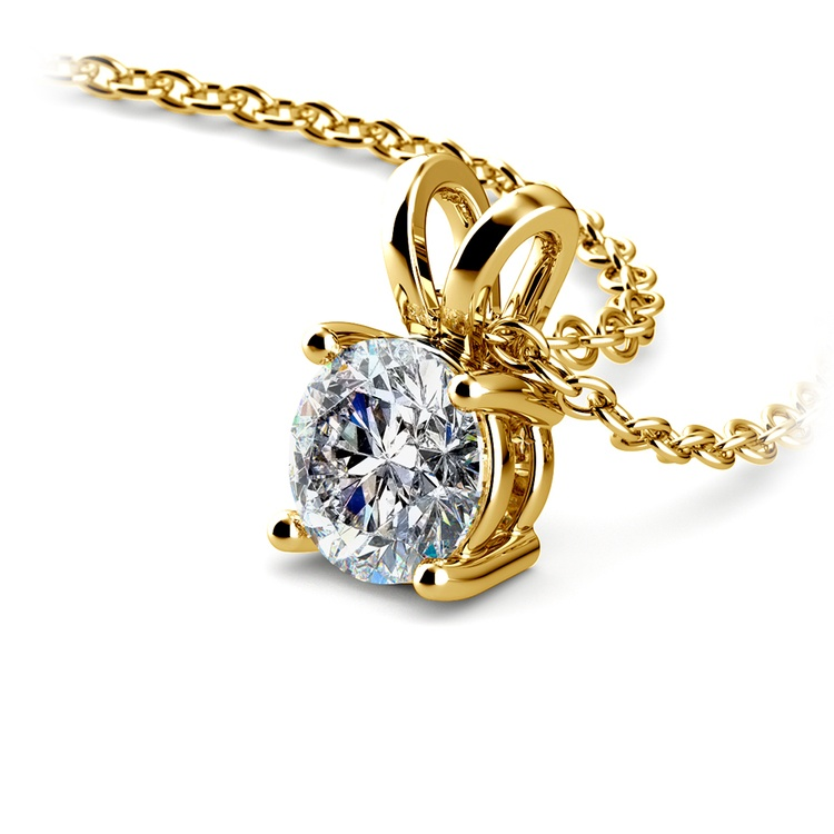Round Solitaire Pendant Setting in Yellow Gold | 01