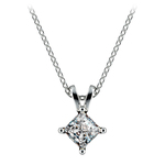 Square Solitaire Pendant Setting in White Gold | Thumbnail 02