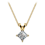 Square Solitaire Pendant Setting in Yellow Gold | Thumbnail 02