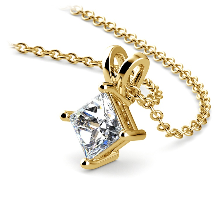 Square Solitaire Pendant Setting in Yellow Gold | 01