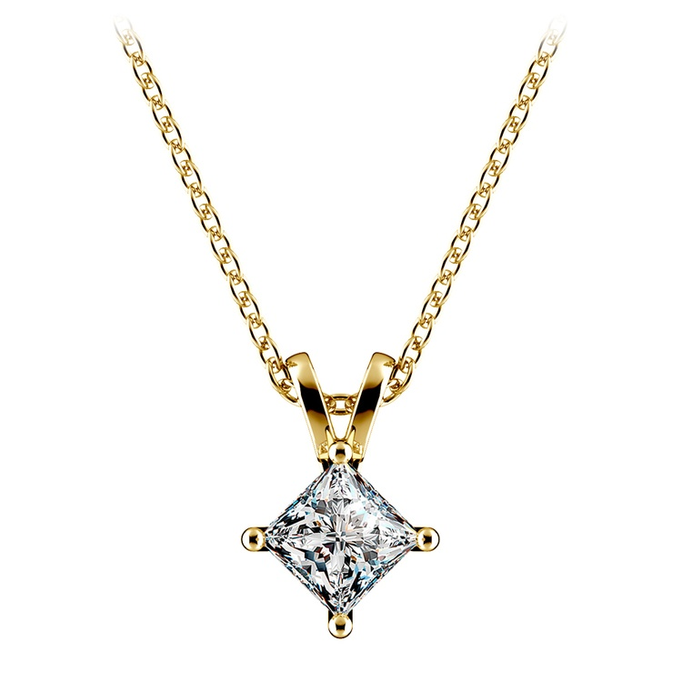 Square Solitaire Pendant Setting in Yellow Gold | 02