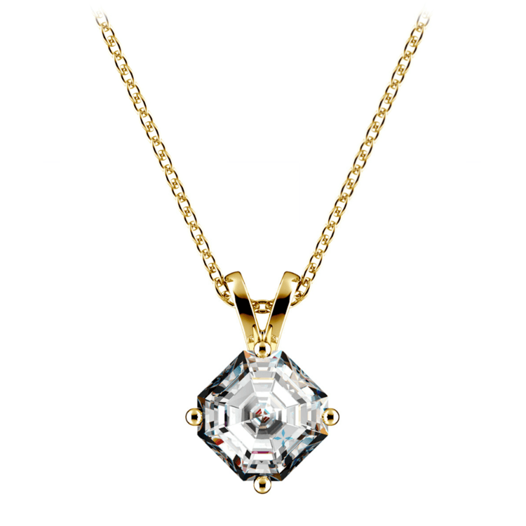 Square Solitaire Pendant Setting in Yellow Gold | 04