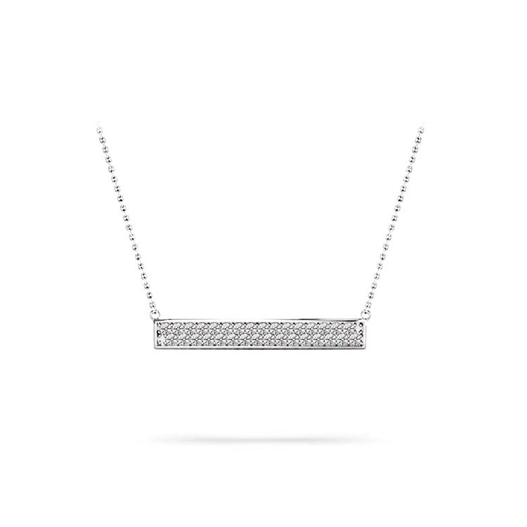 Double Bar Pave Diamond Necklace In White Gold | 01