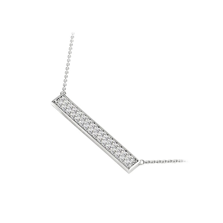 Double Bar Pave Diamond Necklace In White Gold | 02