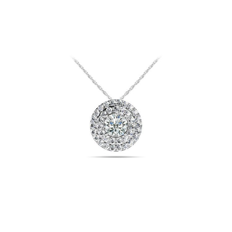 Double Halo Diamond Pendant in White Gold (1/3 ctw) | 01