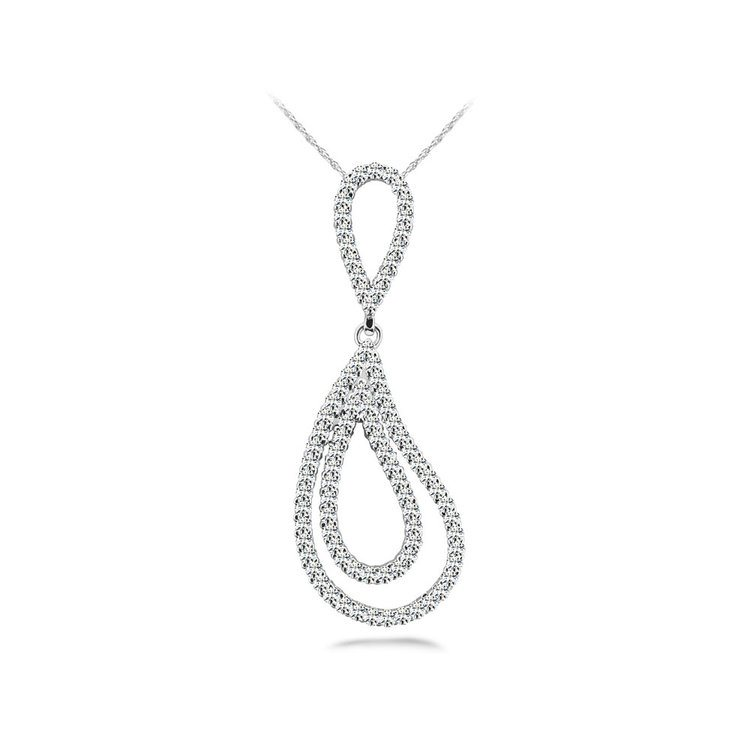 Double Teardrop Diamond Pendant in White Gold | 01