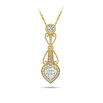 Vintage Heart Diamond Pendant Necklace In Yellow Gold   Thumbnail 01