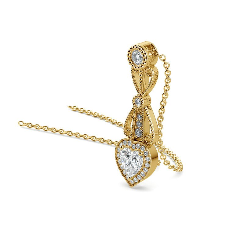 Vintage Heart Diamond Pendant Necklace In Yellow Gold   03
