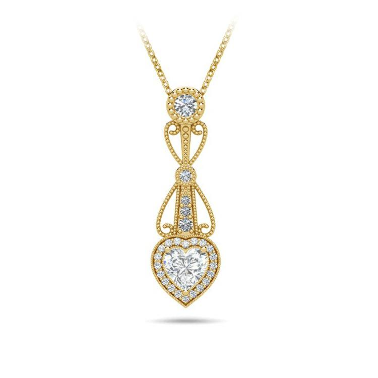 Vintage Heart Diamond Pendant Necklace In Yellow Gold   01