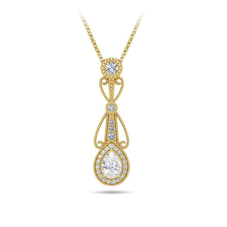 Vintage Pear Diamond Pendant Necklace In Yellow Gold   01