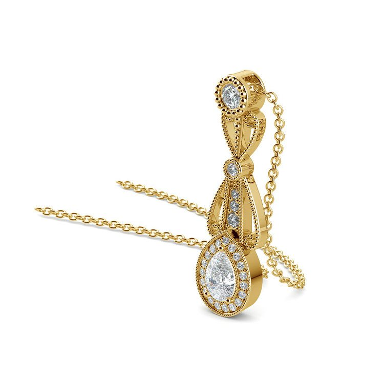 Vintage Pear Diamond Pendant Necklace In Yellow Gold   03