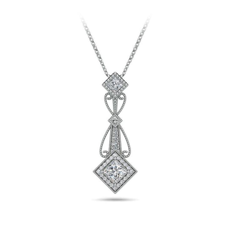 Vintage Princess Cut Diamond Pendant Necklace In White Gold | 01