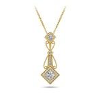 Vintage Princess Cut Diamond Pendant In Yellow Gold | Thumbnail 01