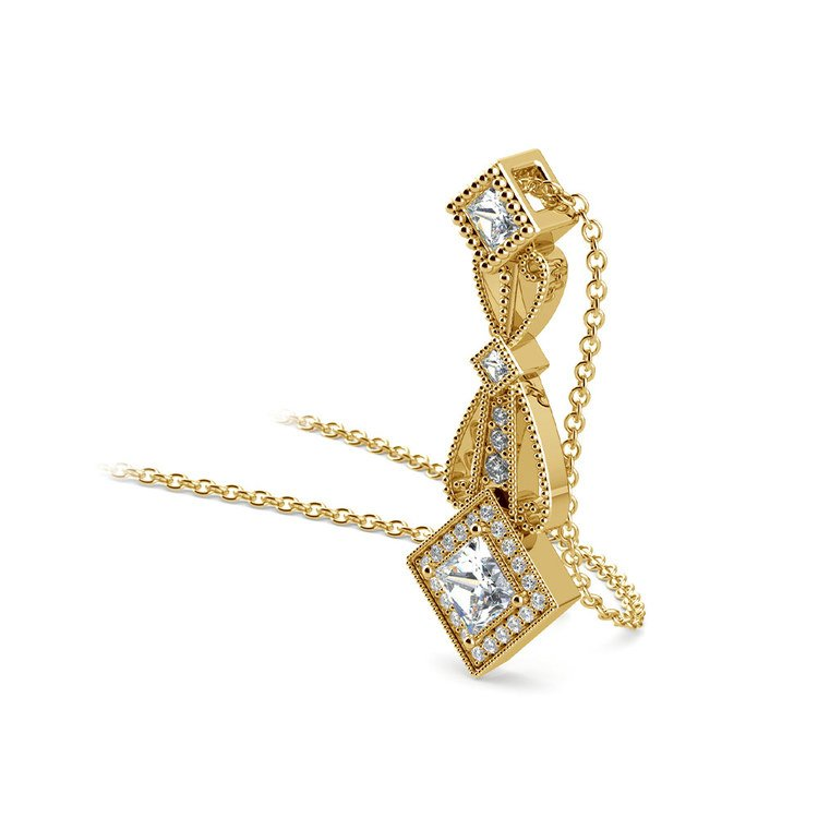 Vintage Princess Cut Diamond Pendant In Yellow Gold | 03