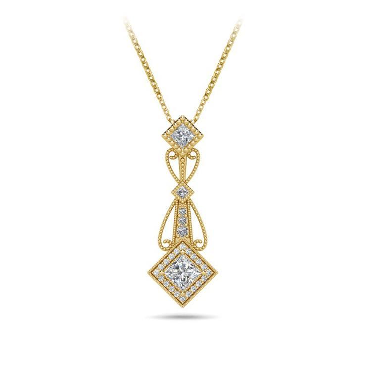Vintage Princess Cut Diamond Pendant In Yellow Gold | 01