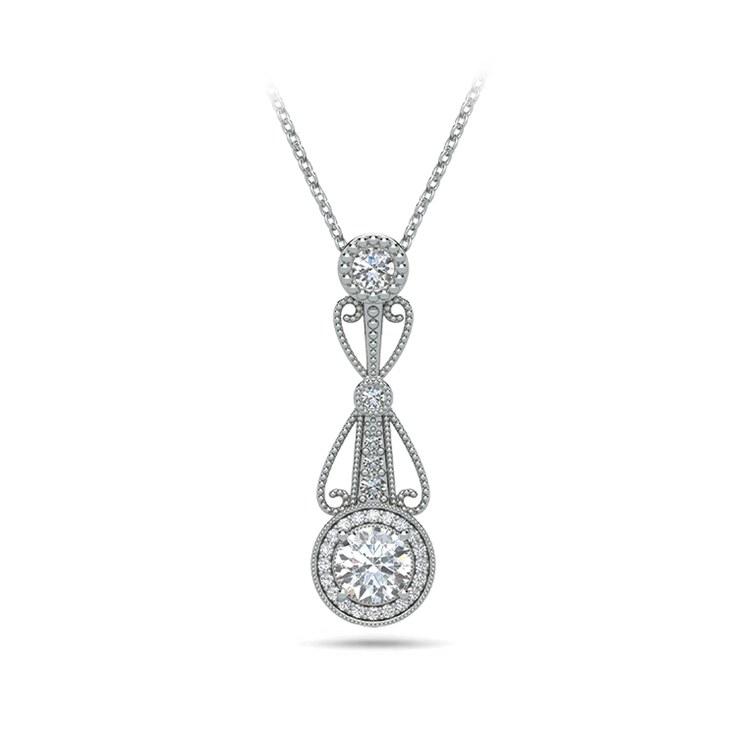 Vintage Round Diamond Pendant Necklace In White Gold | 01