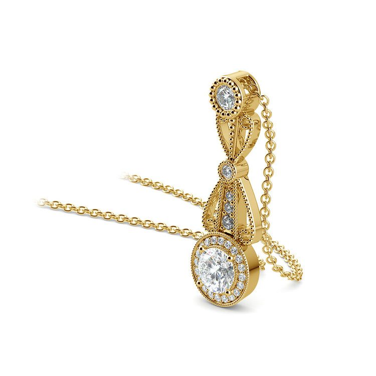 Vintage Round Diamond Pendant Necklace In Yellow Gold   03