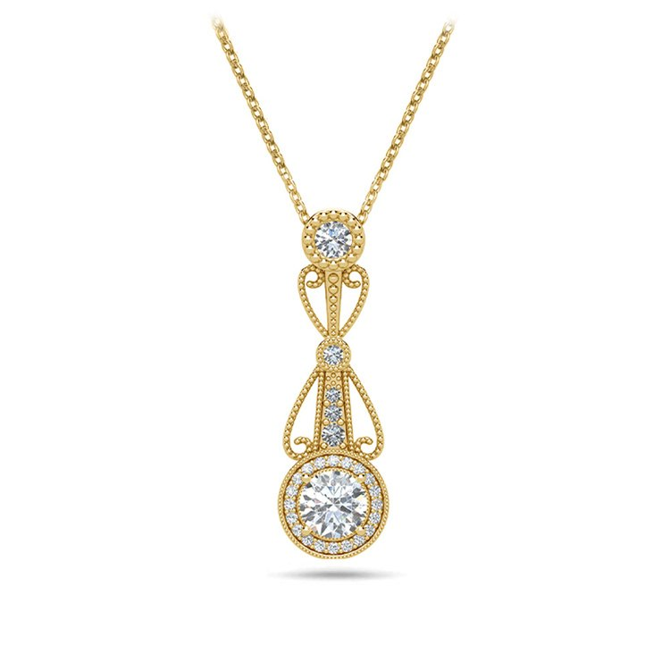 Vintage Round Diamond Pendant Necklace In Yellow Gold   01