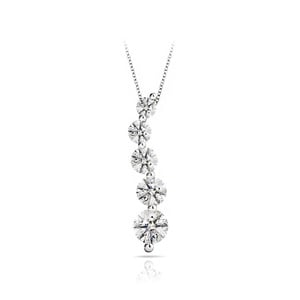 Five-Stone Journey Diamond Necklace In White Gold (1 Carat)