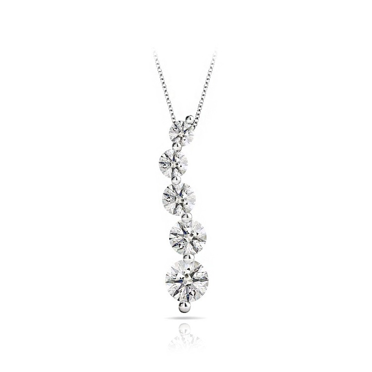 Five-Stone Journey Diamond Necklace In White Gold (1 Carat) | 01