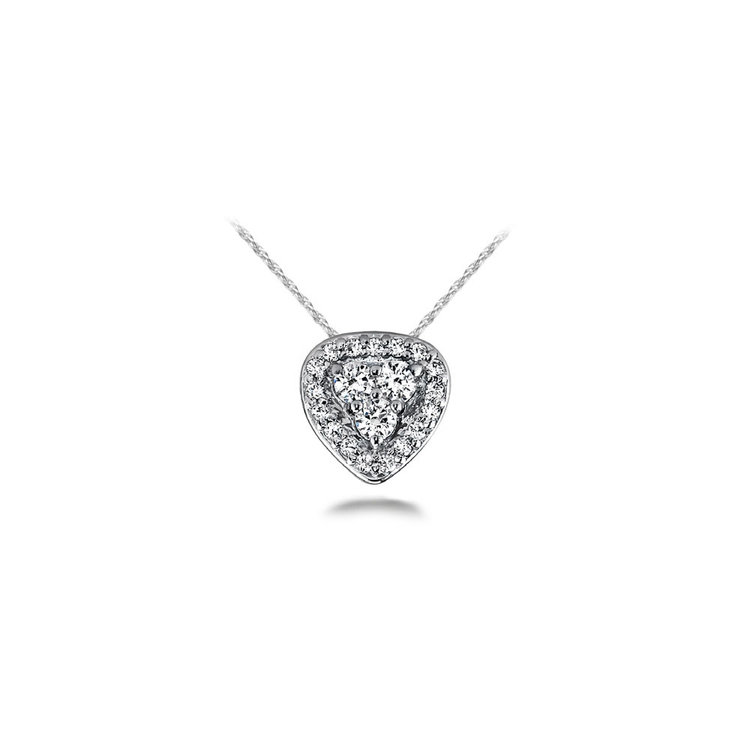 Halo Cluster Diamond Pendant in White Gold | 01