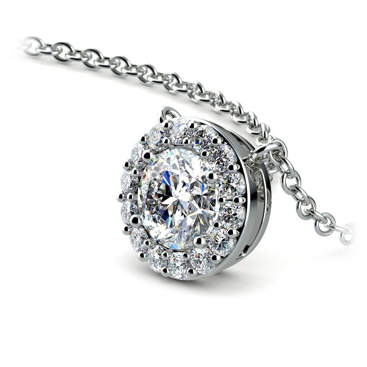Halo Diamond Pendant Setting In Platinum   01