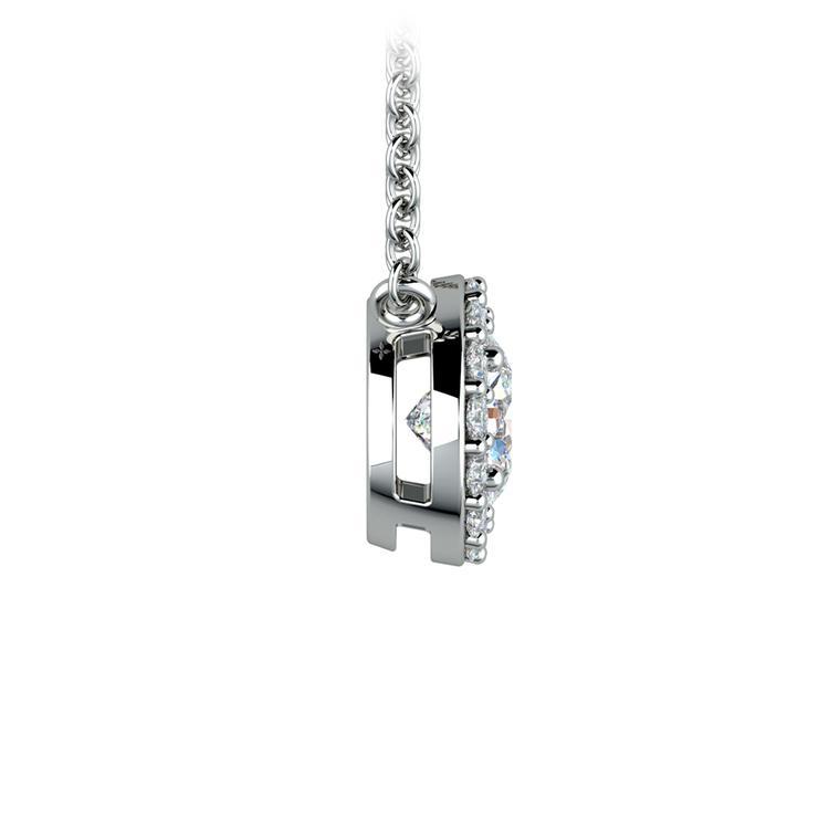 Halo Diamond Pendant Setting In Platinum   03