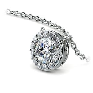 Halo Diamond Pendant Setting in White Gold