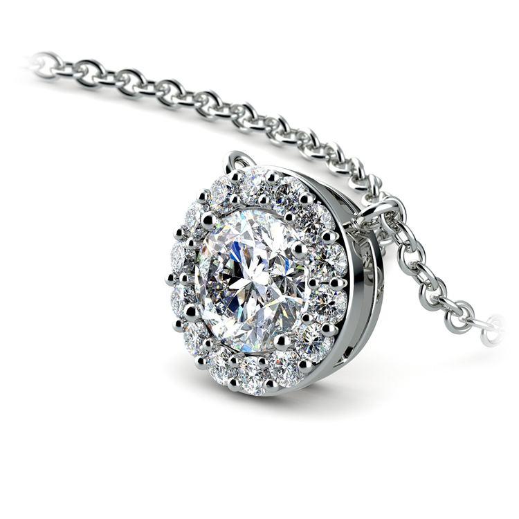 Halo Diamond Pendant Setting in White Gold | 01