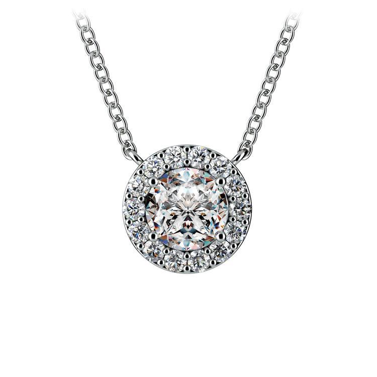 Halo Diamond Pendant Setting in White Gold | 02