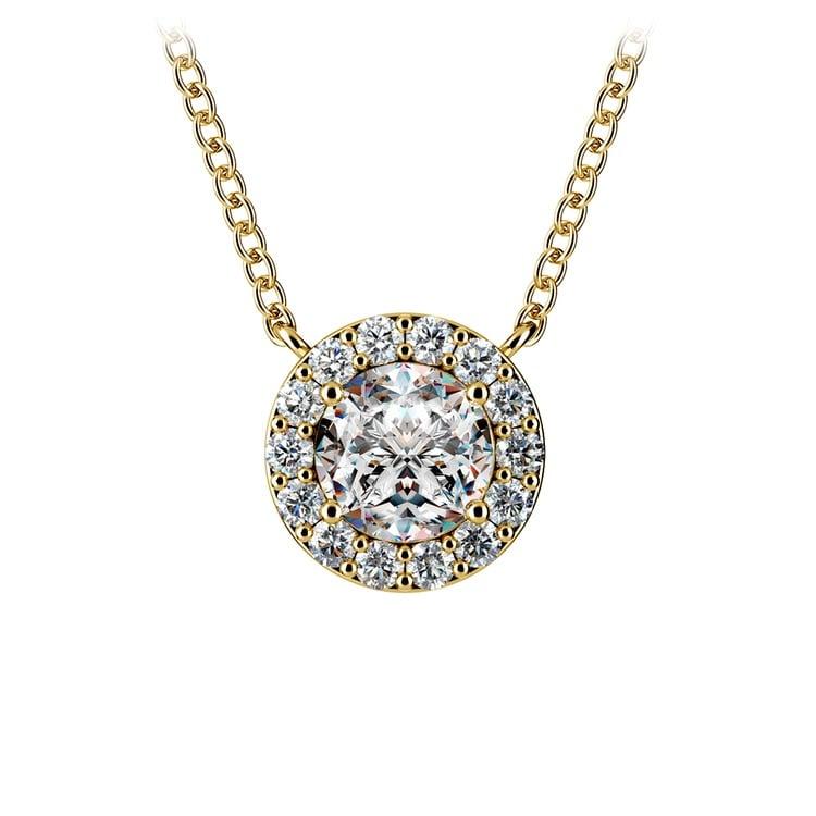 Halo Diamond Pendant Setting in Yellow Gold | 02