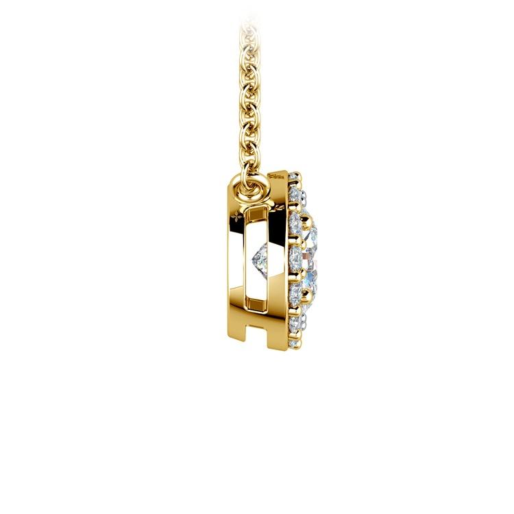 Halo Diamond Pendant Setting in Yellow Gold | 03