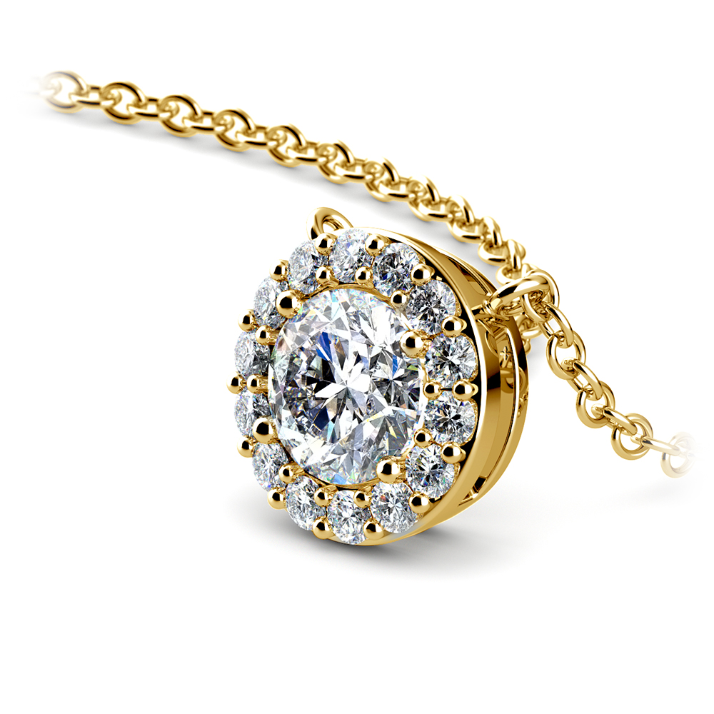 Halo Diamond Pendant Setting In Yellow Gold