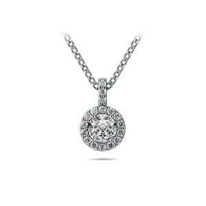 Halo Diamond Solitaire Necklace In White Gold (1/2 Carat)