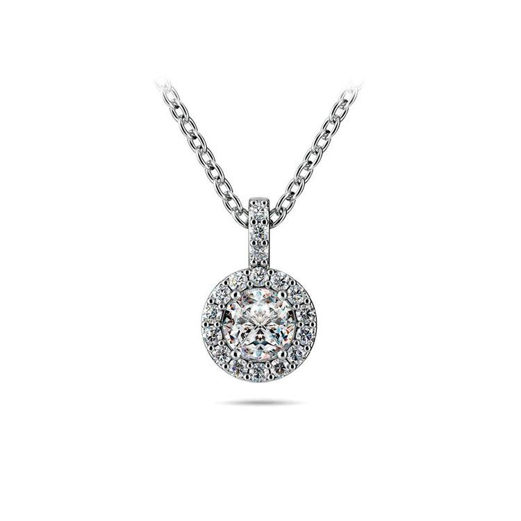 Halo Diamond Solitaire Necklace In White Gold (1/2 Carat)   01