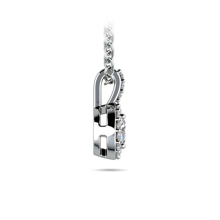 Halo Diamond Solitaire Necklace In White Gold (1/2 Carat)   02