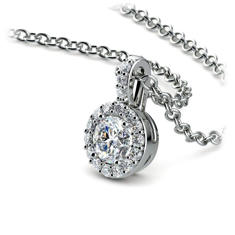 Halo Diamond Solitaire Necklace In White Gold (1/2 Carat)   03