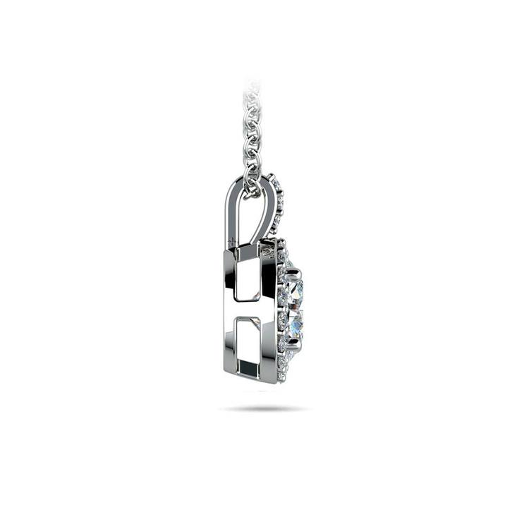 Halo Diamond Solitaire Necklace In White Gold (1 Carat) | 02