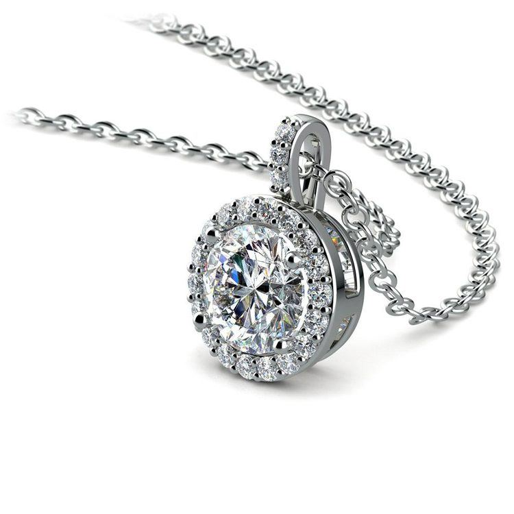 Halo Diamond Solitaire Necklace In White Gold (1 Carat) | 03